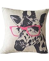 HOSL Animal Style Giraffe Pink Glasses Sofa Simple Home Decor Design Throw Pillow Case Decor Cushion Covers Square 18*18 Inch Beige Cotton Blend Linen