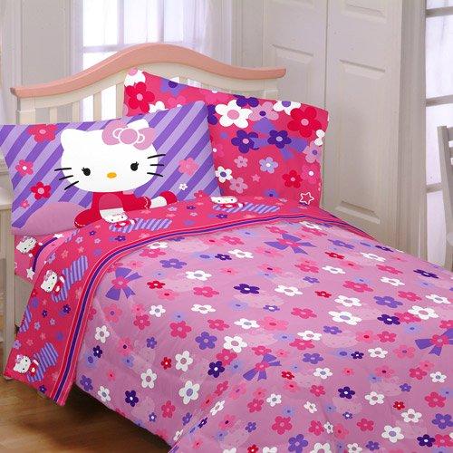 hello kitty raining flowers 4pc twin bedding collection comforter