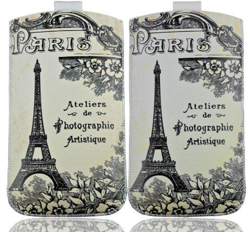 HandyFrog Design Einschubtasche Handytasche weiß beige schwarz Paris Eiffelturm Vintage - f. Sony Xperia P LT22 / J ST26i / acro S LT26w / S LT26i / SL LT26ii / V / T LT30i / ZL / ion LT28h - Handy Tasche Hülle Etui Schutzhülle