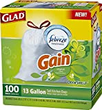 Glad OdorShield Tall Kitchen Drawstring Trash Bags, Gain Original, 13 Gallon, 100 Count