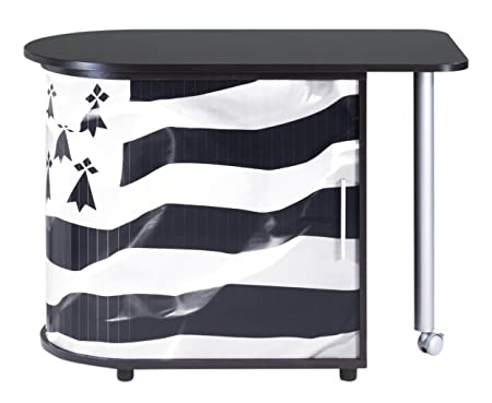 Simmob COOL100NO560 bandiera bretone 560 scrivania girevole con-Tenda con stampa, in legno, colore: nero, 55 x 105 x 74,7 cm