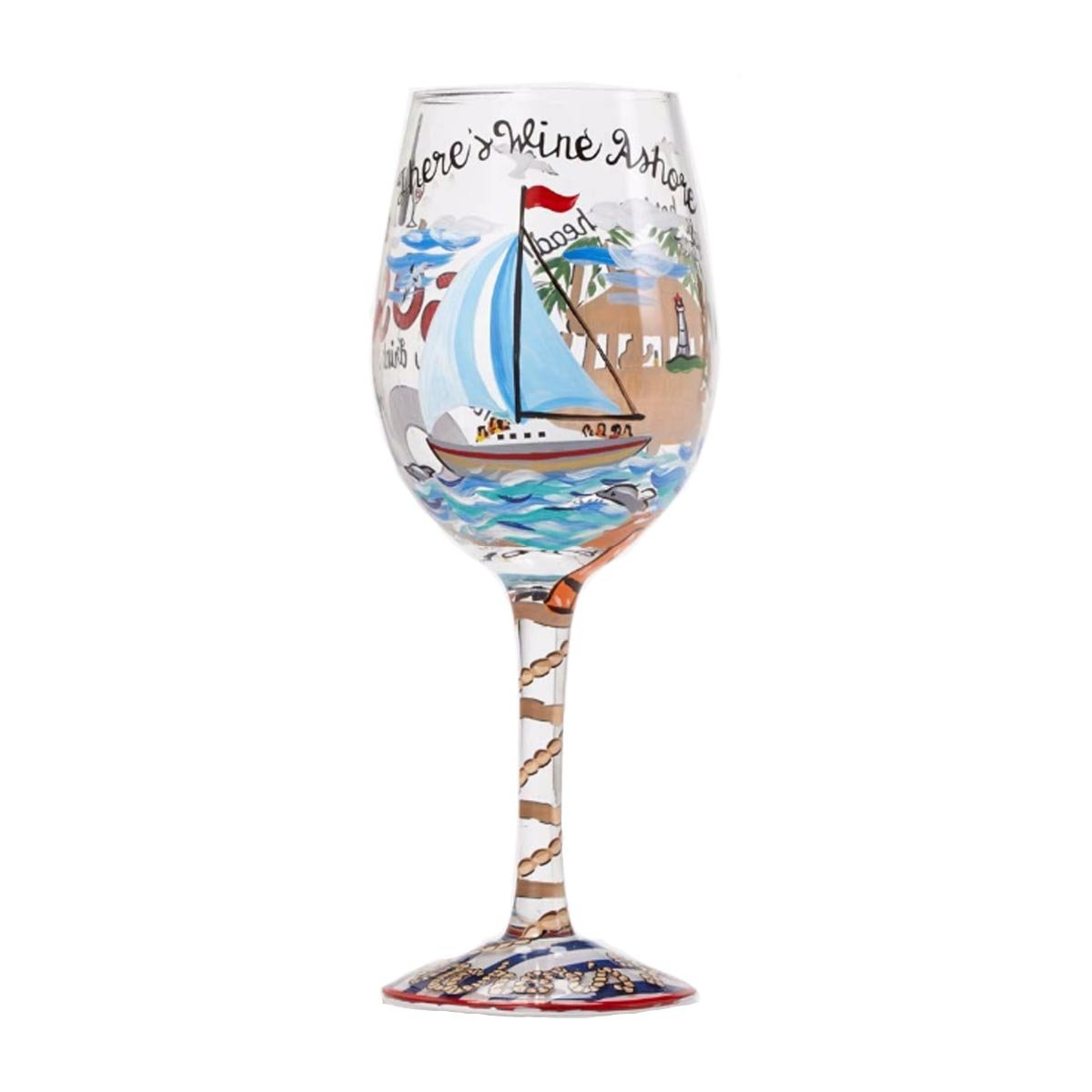 Hand-painted Artisan Wine Glass