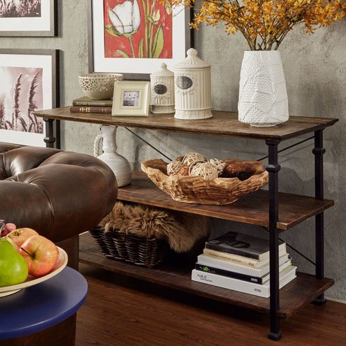 HomeHills Rustic Cocoa TV Stand (Iron Tv Stand compare prices)