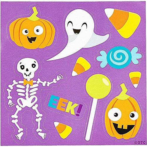 Halloween Themed Sticker Sheets Party Favor - 50 pack - featuring Ghost, Jack O Lantern Pumpkin, Skeleton, Candy Corn and more - 1