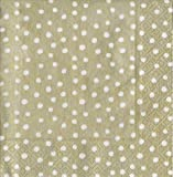 Entertaining with Caspari Dots Cocktail Napkins, Platinum, Pack of 20