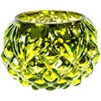 Green Hammered Glass Votive Candle Holder