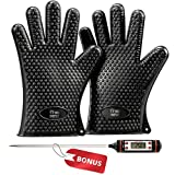 Cooking Heat Resistant BBQ Gloves & Digital Thermometer - Oven Mitts for Baking, Barbecue, Grilling - Non Slip Potholders for Safe Handling - Perfect for Your Home Kitchen Accessories