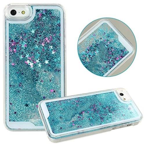Rinastore iPhone 6s case,iphone 6 case,Creative Design Flowing Quicksand Moving Stars Bling 3D Glitter Floating Dynamic Flowing Case Liquid Cover for Iphone 6 4.7inch (Blue star)
