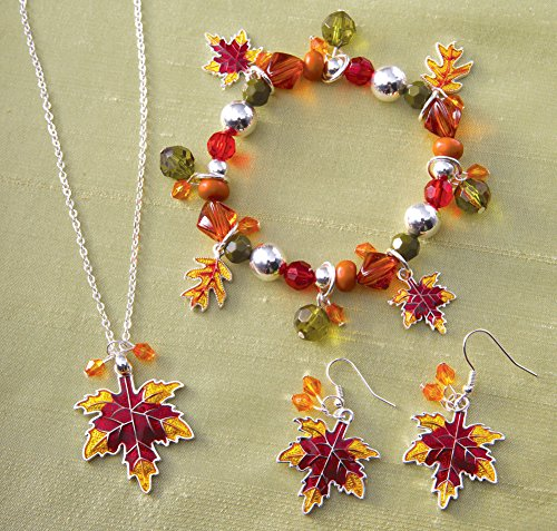 Collections Etc Fall Leaves Autumn Jewelry Set