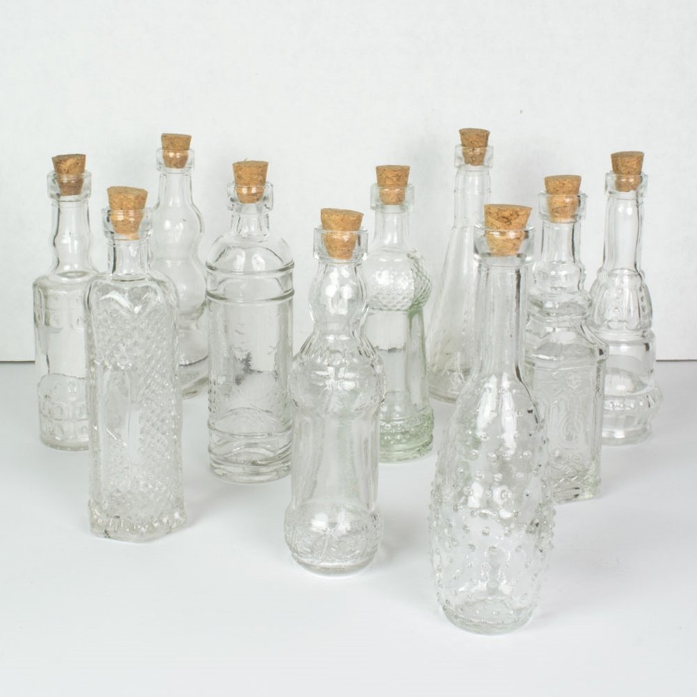 Vintage Glass Bottles with Corks, Assorted, 5 inch, Set of 10, Clear 5