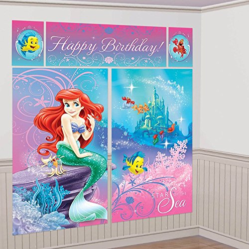Ariel the Little Mermaid Sparkle Giant Scene Setter Wall Decorating Kit (5pc)