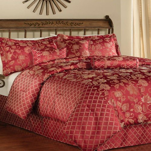 Pem America Abruzzi King 7 Piece Comforter Set Burgundy Gold back-996646