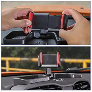 CheroCar Cellphone Phone Holder Kit Multi-Mount with Storage Box for Jeep Renegade 2015-2019 Auto Cell Dash Mount Interior Accessoires