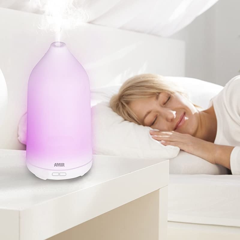 Amir Essential Oil Diffuser, Ultrasonic Aroma oil diffuser, Cool Mist Air Humidifier with Color-changing & Auto off When Waterless Function, Portable for Home, Yoga, Office, Spa, Bedroom, etc. via Amazon