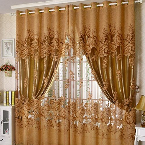 Generic 250*100cm Peony Pattern Voile Curtain Living Room Window Tulle Sheer Curtain