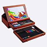 Vigorfun 99 Piece Deluxe Art Set - Art Supplies in Wooden Case with Sketchpad 12 Color Pencils 24 Oil Pastels 2 Brushes 20 A4 Paper for Kids Teens Adults Painting and Drawing (Color: Brown, Tamaño: 99 Pieces)