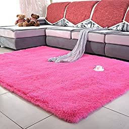 Sytian® Large Size 4 Feet X 5 Feet 4.5cm Thick Decorative Modern Shaggy Area Rugs Super Soft Silky Bedroom Living Room Sitting-room Rugs Carpet Non Slip Absorbent Bath Mat Baby Children Kids Room Playing Mat Carpet (Hot Pink)
