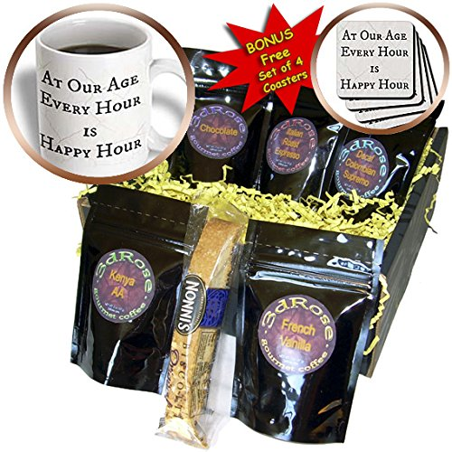 Xander funny quotes - at our age every hour is happy hour black letters on white background - Coffee Gift Baskets - Coffee Gift Basket (cgb_201915_1)
