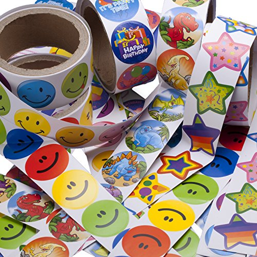 Fun toys 5 Rolls of 100 Assorted Stickers