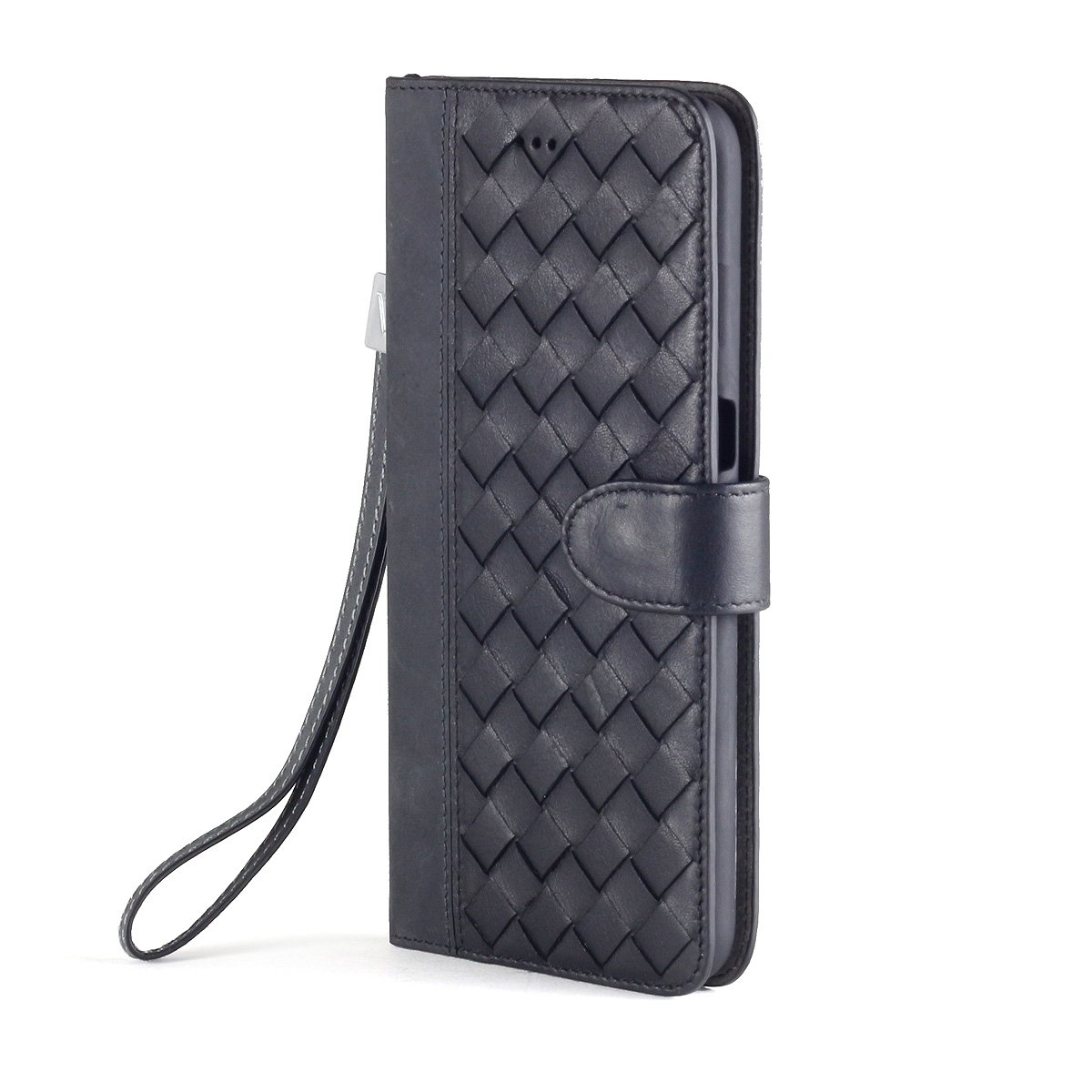 Premium Genuine Intrecciato Leather Wallet cover with Hand Strap