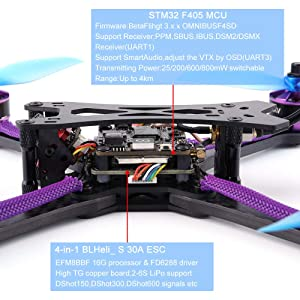 Q215MM FPV Racing Drone DIY Assembled 800TVL Motor Frame Kit 5.8G 48CH RC Toys,Outdoor Racing Controllers Helicopter Sky Rover,Rc Airplane,RC Helicopter,Drones Parts,Remote Control (Without Receiver) (Color: Without Receiver, Tamaño: Free Size)