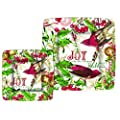 Michel Design Works 8 Count Dinner Square Paper Plates, Mistletoe and Holly