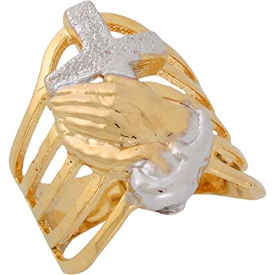 9ct Two Colour Gold Praying Hands Cross Modern Waves Religious Ladies Ring