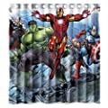 Custom Avengers Movie Incredible Hulk and Iron Man Characters Waterproof Bathroom Shower Curtain Polyester Fabric Shower Curtain Size 66 X 72