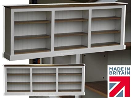 100% Solid Wood Bookcase, 3ft x 8ft White Painted & Waxed Shelving Bookshelf with Adjustable Display Shelves. No flat packs, No assembly (BK10-P)