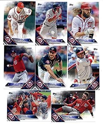 2016 Topps Baseball Series 1 Washington Nationals Team Set of 12 Cards: Ryan Zimmerman(#45), Gio Gonzalez(#47), Bryce Harper(#100), Doug Fister(#102), Trea Turner(#103), Joe Ross(#132), Max Scherzer(#209), Yunel Escobar(#247), Jonathan Papelbon(#266), Den