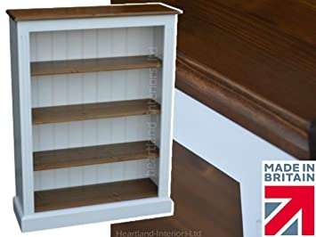 Solid Wood Bookcase, 4ft x 3ft Handcrafted & White Painted Adjustable Display Contrasting Shelving Unit, Bookshelves. No flat packs, No assembly (BK14-P)