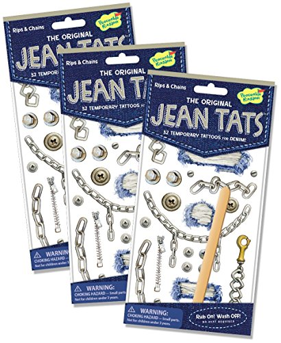 Peaceable Kingdom Jean Tats Rips and Chains Temporary Tattoos for Fabric - 3 Pack