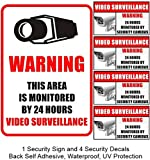 5 Pack (1 Large and 4 Small) Weatherproof Home Business Security DVR Camera Video Surveillance System Window Door Wall Warning Alert Sign Sticker Decals **Back Self Adhesive, UV Protected and Waterproof **