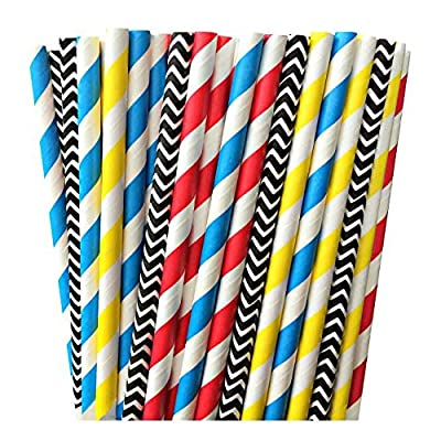 Red, Yellow, Blue and Black Chevron and Striped Paper Straws -Superhero Birthday Party Supply Transformers Cars 100%Biodegradable 7.75 Inches Pack of 100