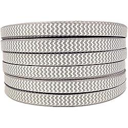 "50yd 3/8"" White Chevron Printed Silver Grey Grosgrain Ribbon"