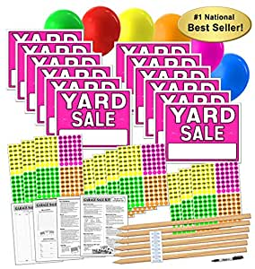 amazon com yard sale sign kit with pricing labels and wood sign stakes a802y moving sale