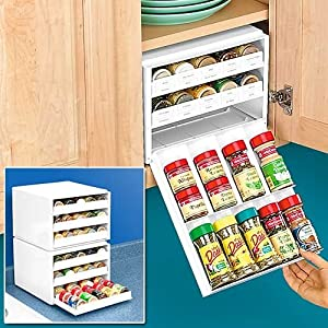 Super spice stack rack white organizes 27 spice for Amazon kitchen cabinets