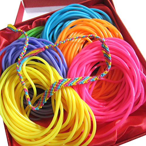 Adorox Neon Jelly Bracelets Rainbow Colors Party Favors Birthday Gifts Prizes Assorted (Assorted (144 Bracelets)) (Rainbow Jelly compare prices)