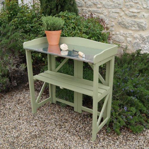 Limited Sale Folding Potting Table Bench In Painted Sage