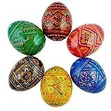 6 Ukrainian Geometric Wooden Pysanky Easter Eggs