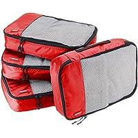 AmazonBasics 4-Piece Medium Packing Cube Set (Red)