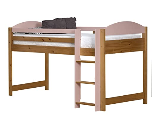 Design Vicenza Maximus Mid Sleeper, Wood, Antique Pine with Pink Details, Single