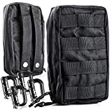1000D Cordura Black Tactical Molle Pouch: 2 EDC Utility Ammo & EMT First Aid Kit Organizer and Everyday Carry Bags - Military Grade Survival & Camping Gear Pouches with 4 Locking Carabiner Attachments (Color: Black)