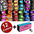 Kleancolor-Nail-Polish-Awesome-Metallic-Full-Size-Lacquer-Lot-of-12-Set-COTU--Brand-Nail-Buffer-Block-1-pc