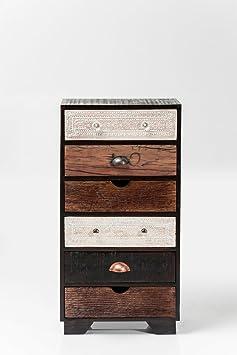 Kare 80182 Kommode Finca 6 Schube Möbel, Holz, schwarz / braun / weiß, 30 x 50 x 100 cm