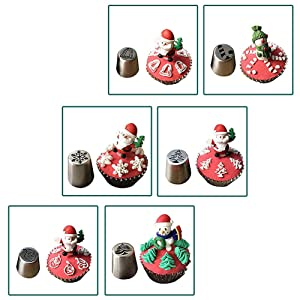 Weagood Chritsmas Russian Piping Tips Holiday Design Cake Decoration Baking Set 22 pcs-10 Icing Nozzel+10 Baking Pastry Bags+2 Couplers Frosting Tips Set (XMS Decoration) (Color: Cd-001)