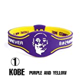 LEKEK Silicone Bracelets Power Balance Silicone Wristband NBA Basketball Team Silicone … (1 Kobe Purple+Yellow)