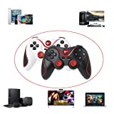 Fucung 1pcs T3 Wireless Bluetooth 3.0 Gamepad Game Controller + Holder Bracket For Android Phone, Gaming Remote Control for phone PC Tablet TV Box (Color: Black, Red)