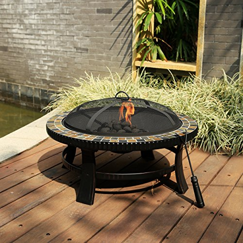 30-inch Black Round Patio/Outdoor Metal Fire Pit with Slate Top and Hand-painted Brushed Bronze Finish