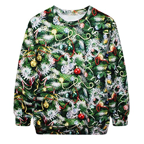 Voglee- Christmas Cute Print Pullover Sweater Jumper Outwear (Christmas Tree-1)